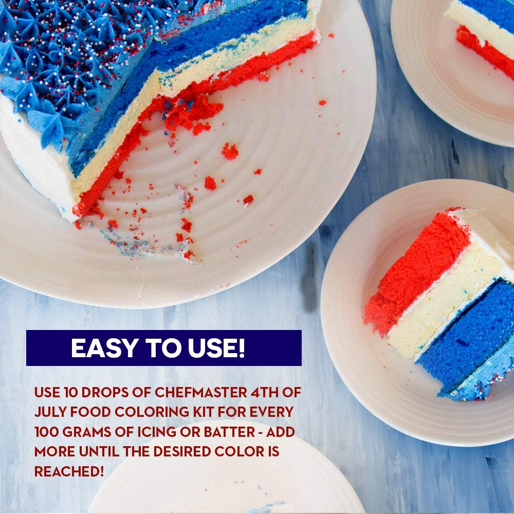 Chefmaster 4th of July Food Coloring Kit, 4-Pack Gluten Free ...
