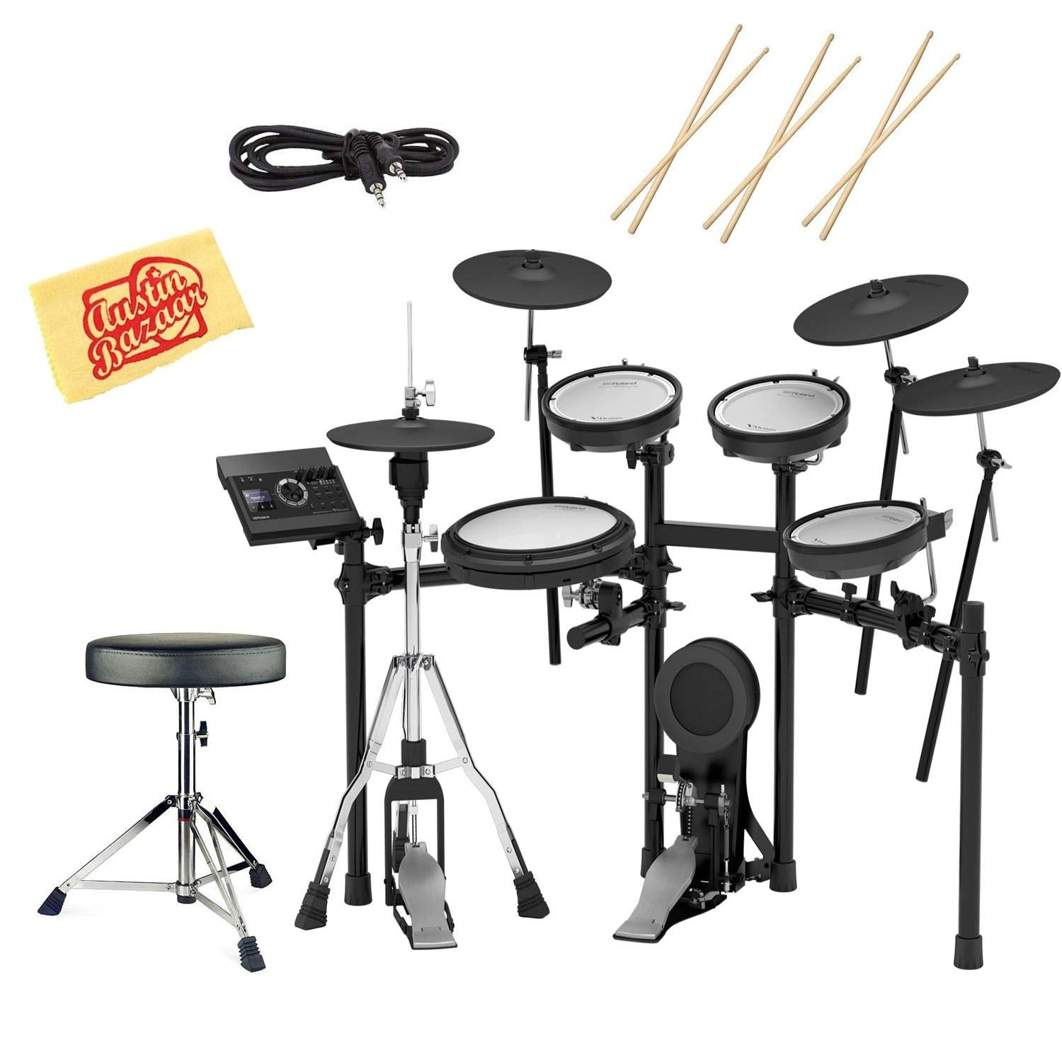 Roland TD-17KVX Electronic Drum Set Bundle with Drum Throne, 3 Pairs of  Sticks, Audio Cable, and Austin Bazaar Polishing Cloth