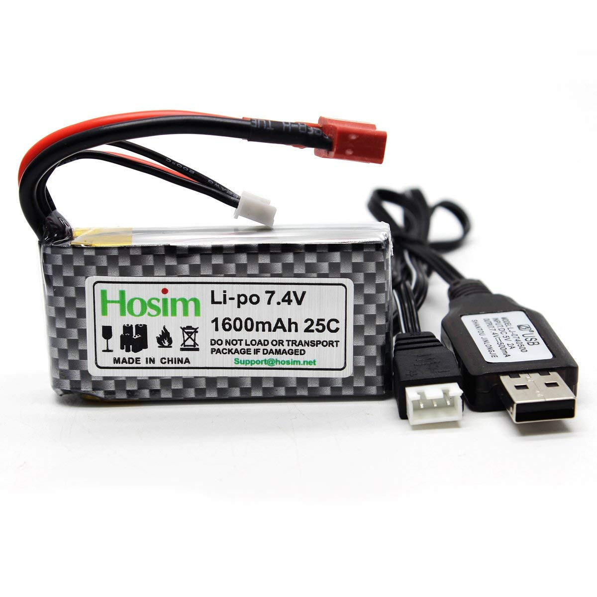 Hosim 7 4V 1600mAh RC Car Rechargeable Li-Po Battery and 1 pcs USB Charger,  Spare Replacement Parts Assessory for 9125 1/10 Scale All Terrain RC Truck
