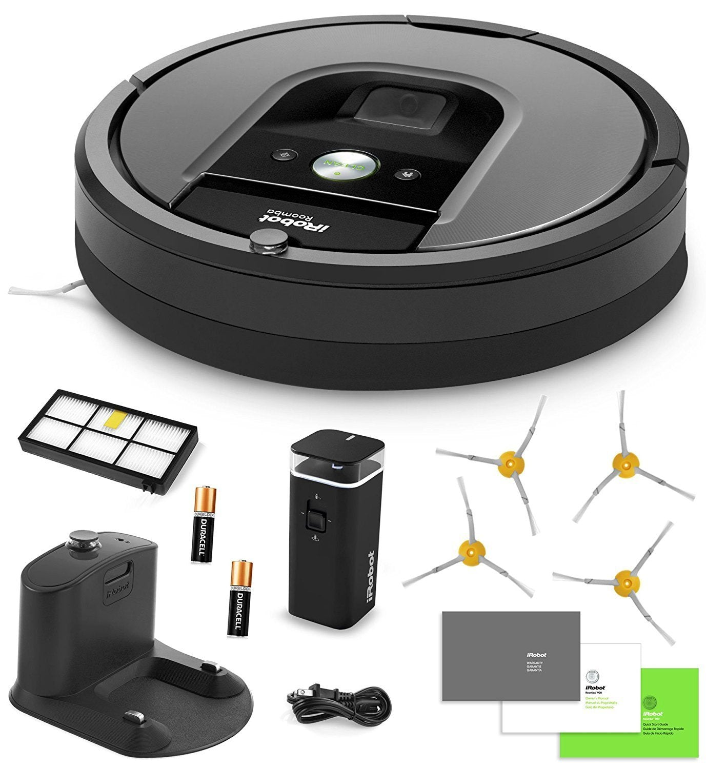 iRobot Roomba 960 Vacuum Cleaning Robot + Dual Mode Virtual Wall Barrier  (With Batteries) + Extra High Efficiency Filter + 4 Extra Sidebrushes + More