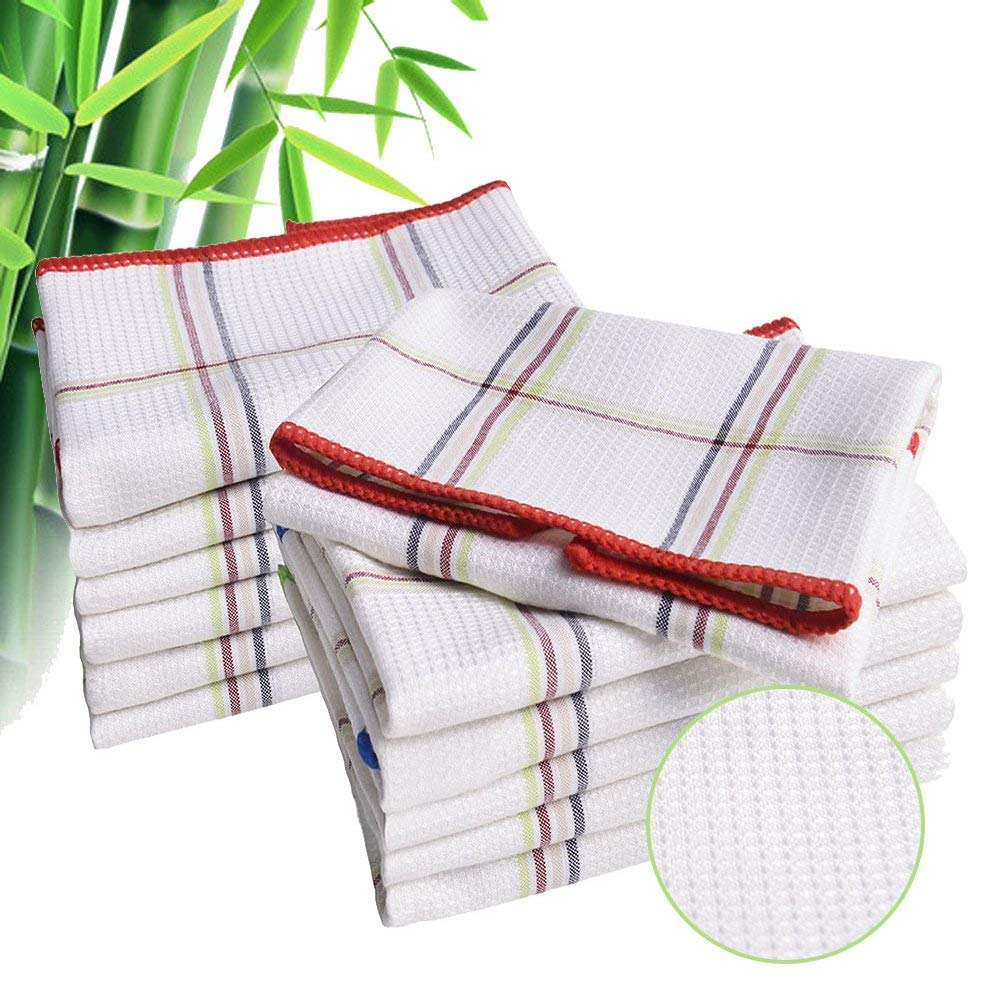 Luckiss Bamboo Dish Cloths Quick Dry Kitchen Rags For Washing Dishes And Dust Cloths Sets Absorbent Soft Durable Eco Friendly Cleaning Rags 12 X 12