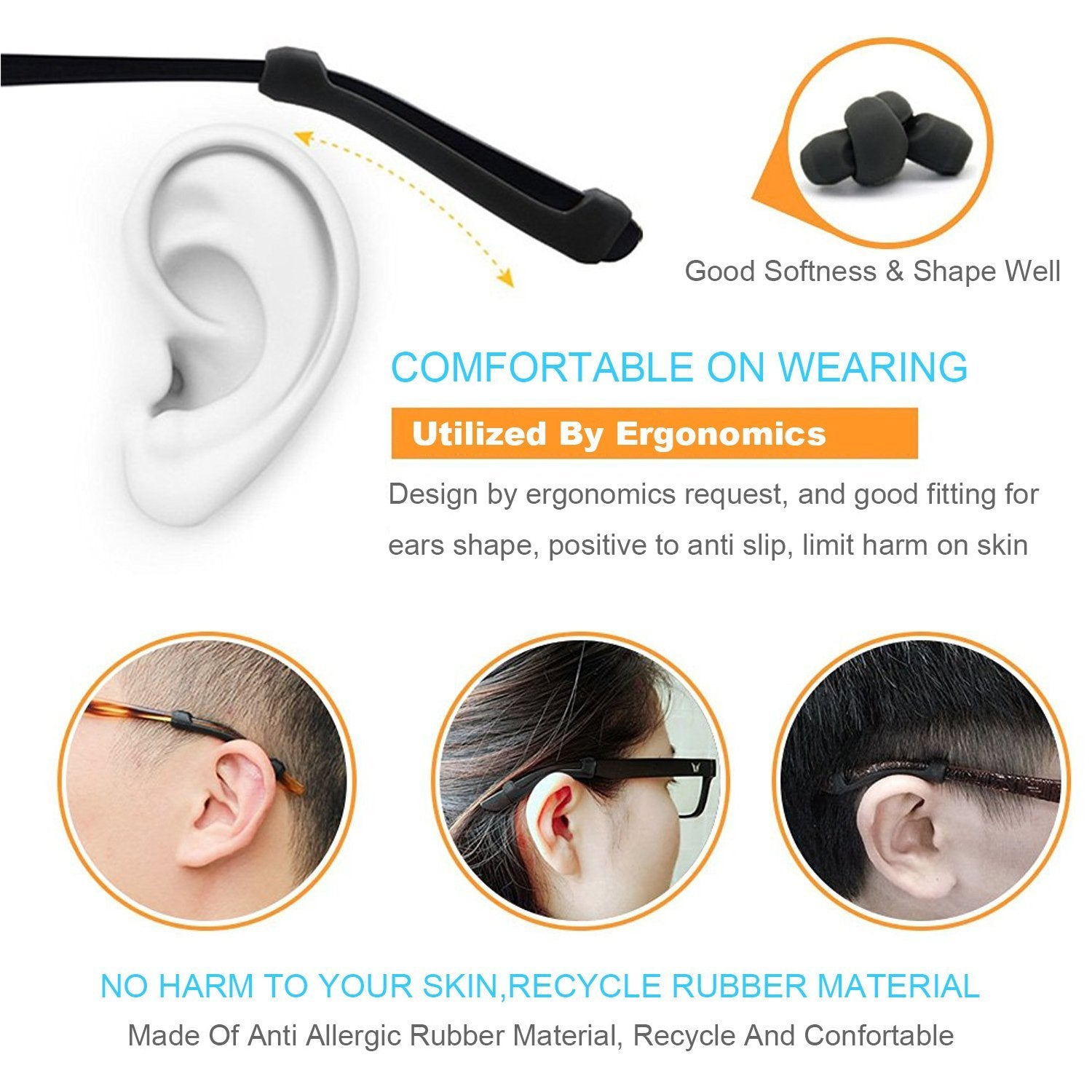Eyewear Accessories 100 Pairs Silicone Anti Slip Glasses Ear Hooks Tip Eyeglasses Grip Temple Holder Soft Comfortable Good Elastic Accessories To Ensure Smooth Transmission Apparel Accessories