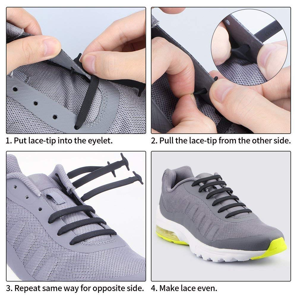Outdoor Tools Sports Reflective Shoelaces Running Hiking Lazy Safty Round Buckle Elastic Band To Ensure Smooth Transmission