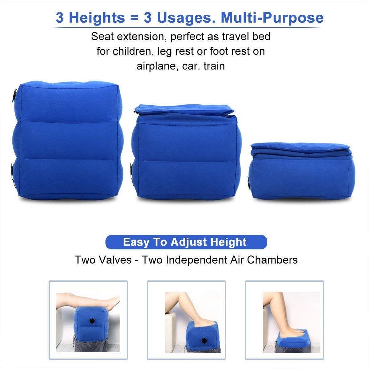 7d88d1036a2e NIUMI Inflatable Adjustable Height Travel Pillow for Leg/Foot Rest,  Airplane bed for kids to Lay Down or Sleep on Long-Haul Flight, Footrest  Suitable ...