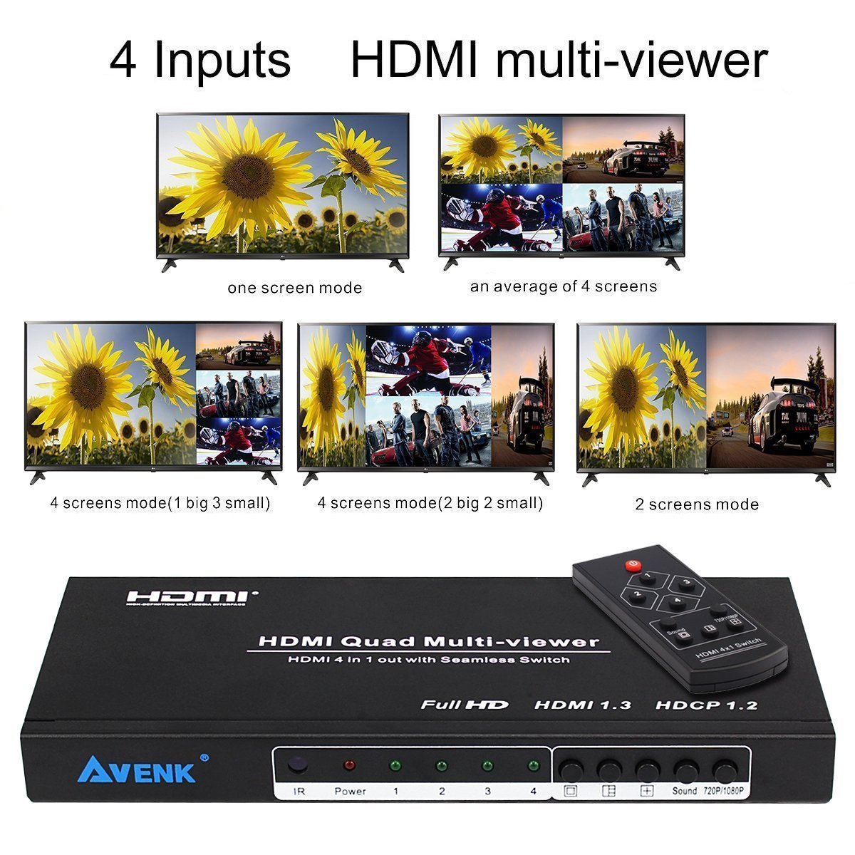 AVENK Quad Multi-Viewer 4x1 HDMI Switcher 4 Ports with Seamless Switch and  IR Remote Support 1080P HDMI 1 3a