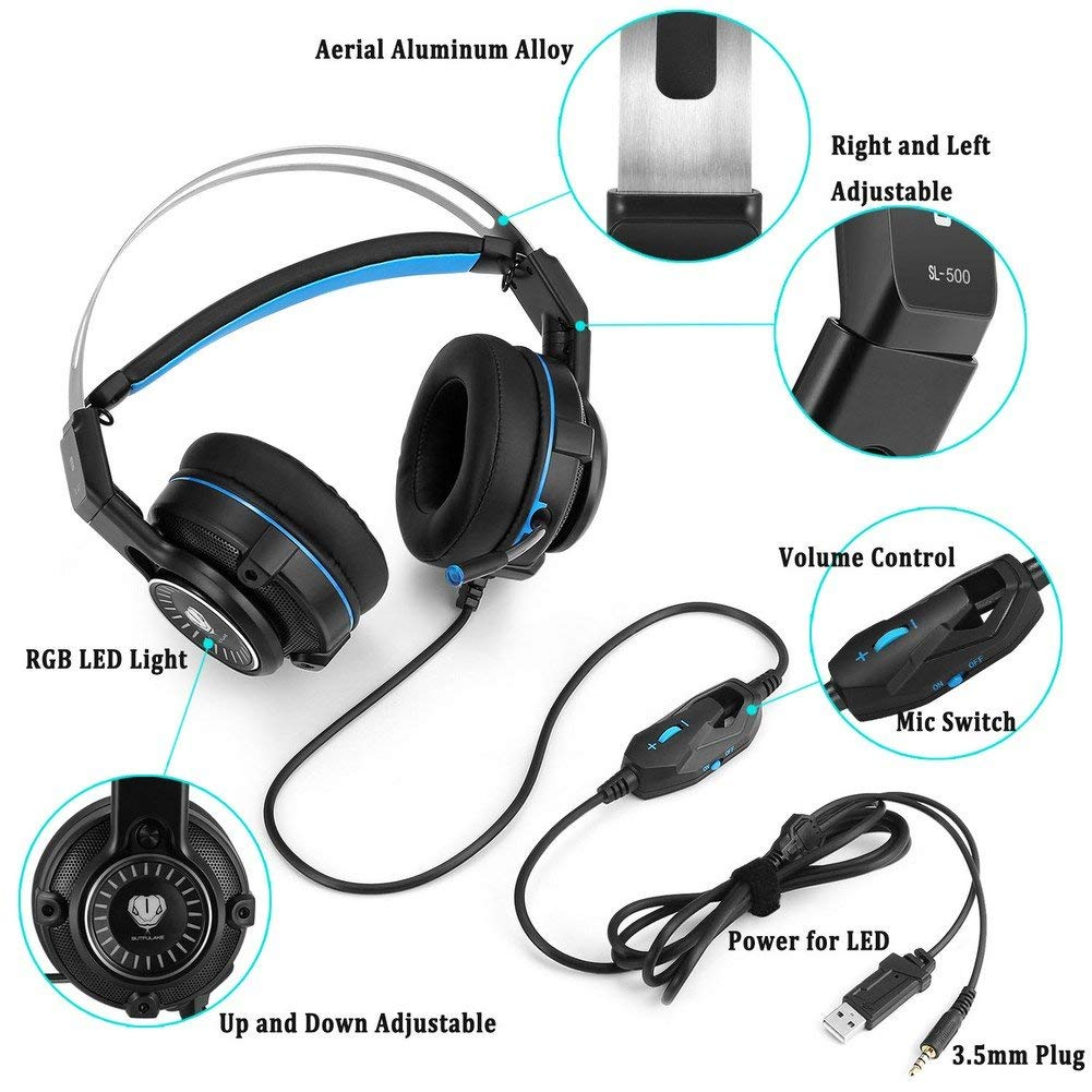 XBox one Gaming Headset for PS4, PC, Laptops, Nintendo Switch, Mobile  Phones with Mic Noise Isolation/LED Light/Bass Surround Stereo/One Key Mic