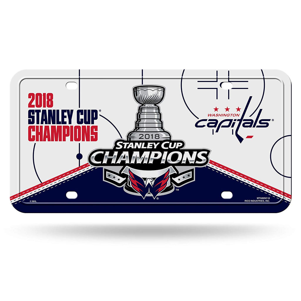 6894eece9c4 Rico Industries NHL Washington Capitals 2018 Stanley Cup Champions Metal  License Plate Tag