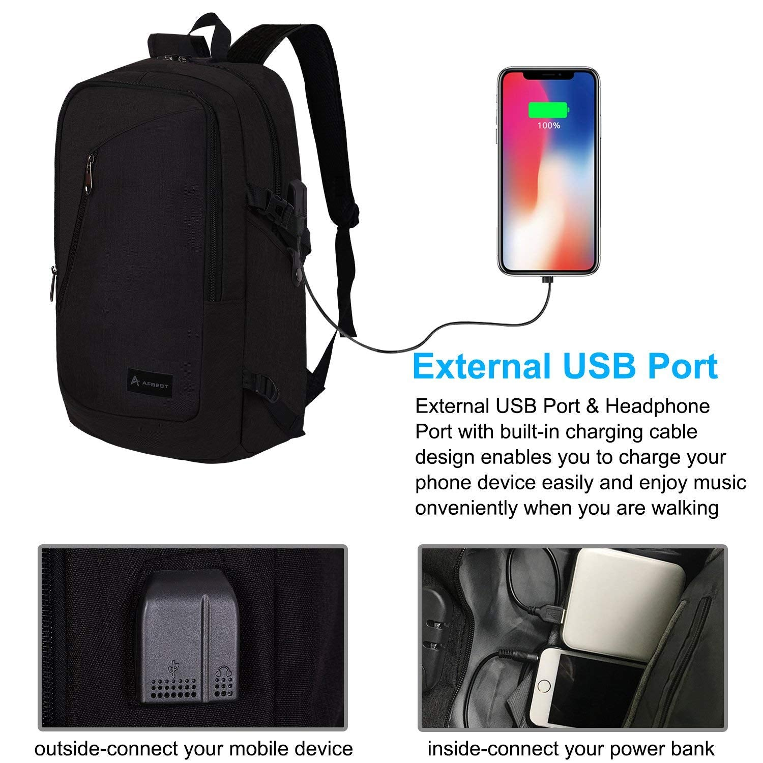 AFBEST Laptop Backpack,Business Anti Theft laptop Waterproof backpack with  USB Charging Port and Headphone Fits UNDER 17