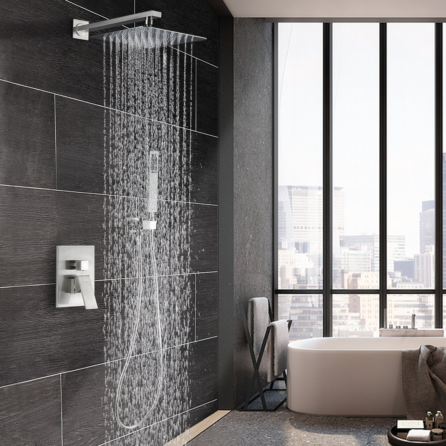 Esnbia Luxury Rain Shower System Wall Mounted Shower Combo Set With High  Pressure 12 Inch Square Rain Shower Head And Handheld Shower Faucet Set  Brushed ...