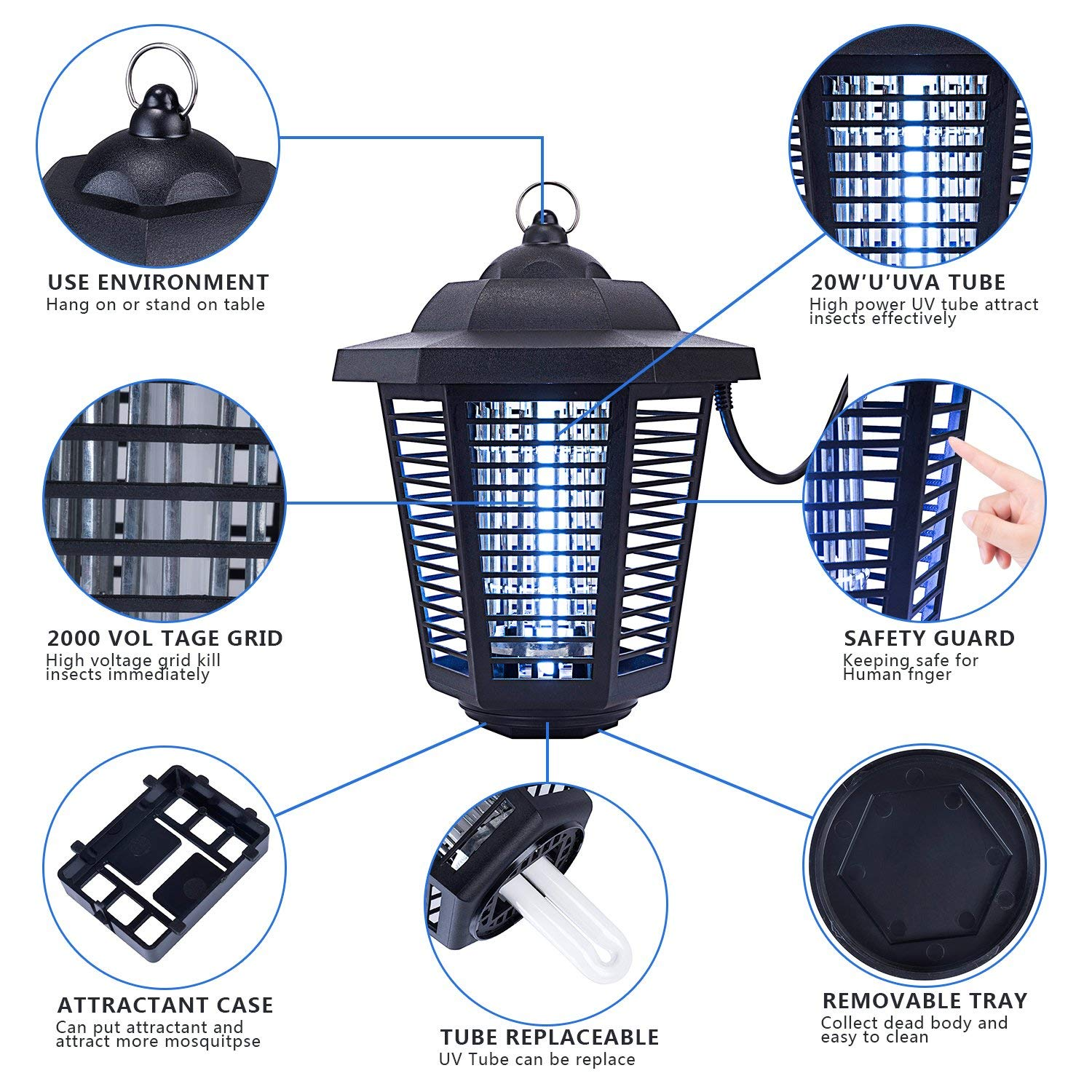TBNEVG Powerful Electric Bug Zapper With UV Light Trap,Indoor Outdoor  Mosquito Fly Insect Catcher Killer,Pest Control Protects Up to 2 0 Acre For