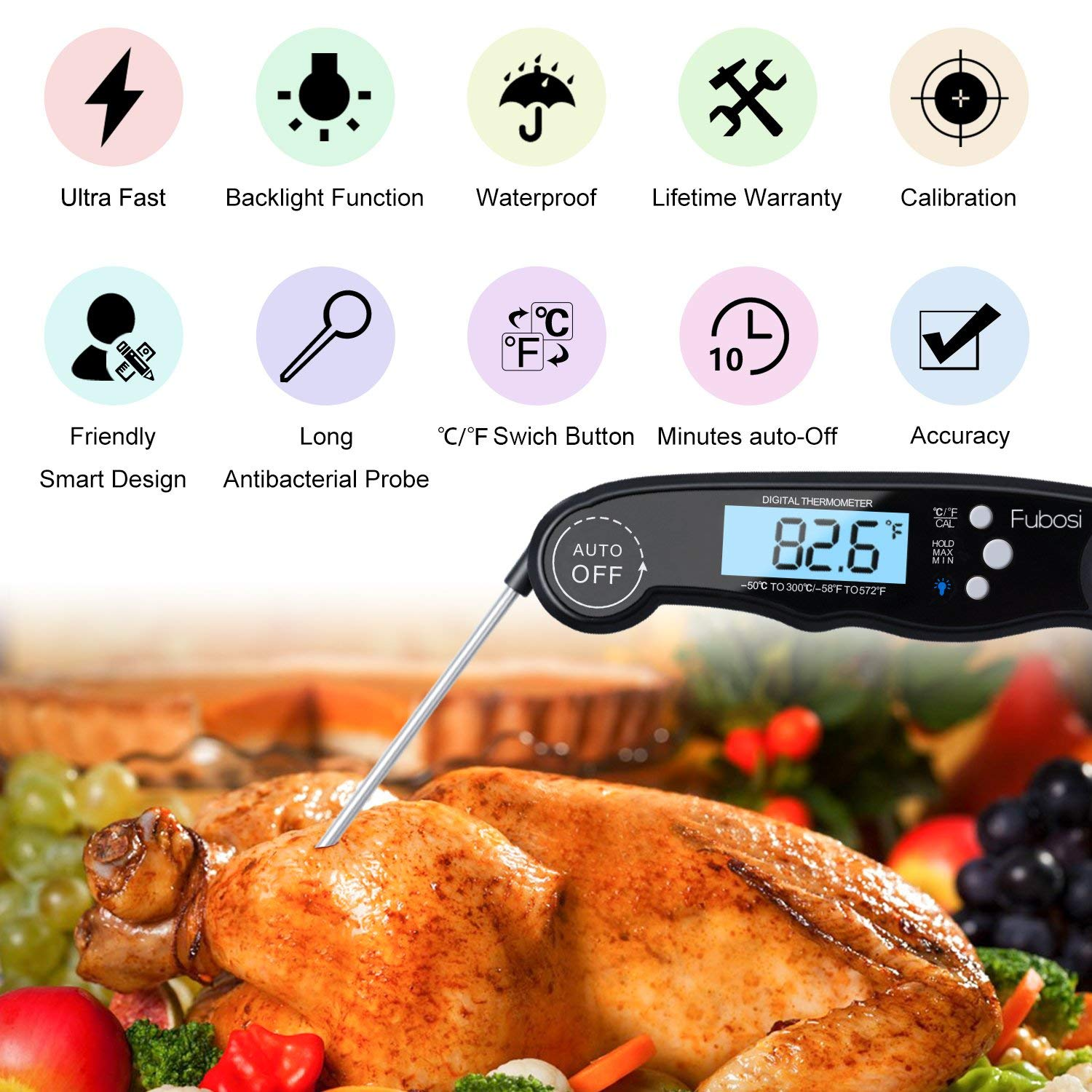 Meat Thermometer - Fubosi Digital Meat Thermometer Instant Read Food  Thermometer with Calibration and Backlight Functions, Digital Cooking  Thermometer