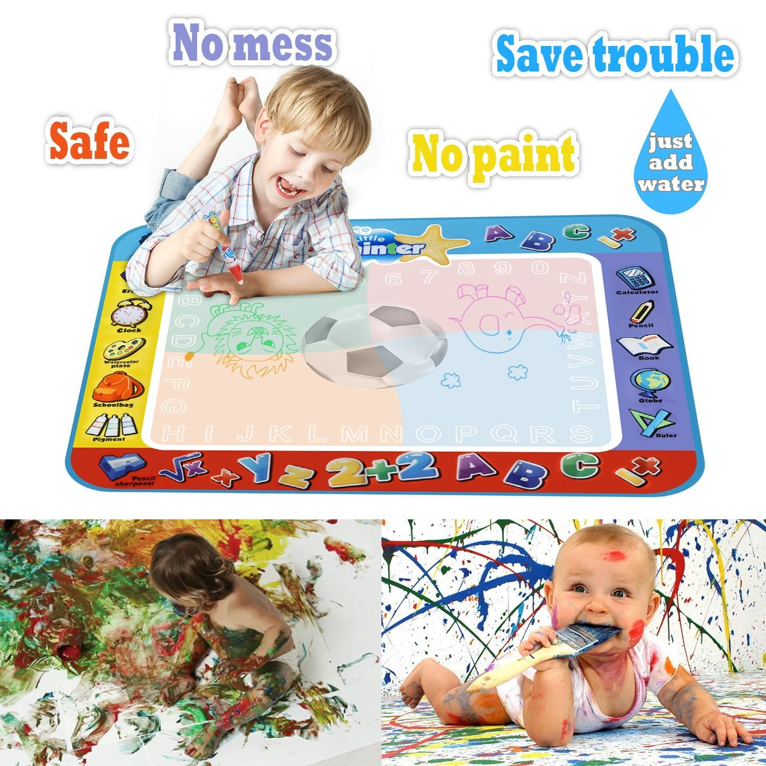 Alago Water Doodle Mat Kids Toys Large Aqua Mat Toddlers Painting Coloring Pad With 4 Colors Gifts For Girls Boys Age 2 3 4 5 Years Old 4