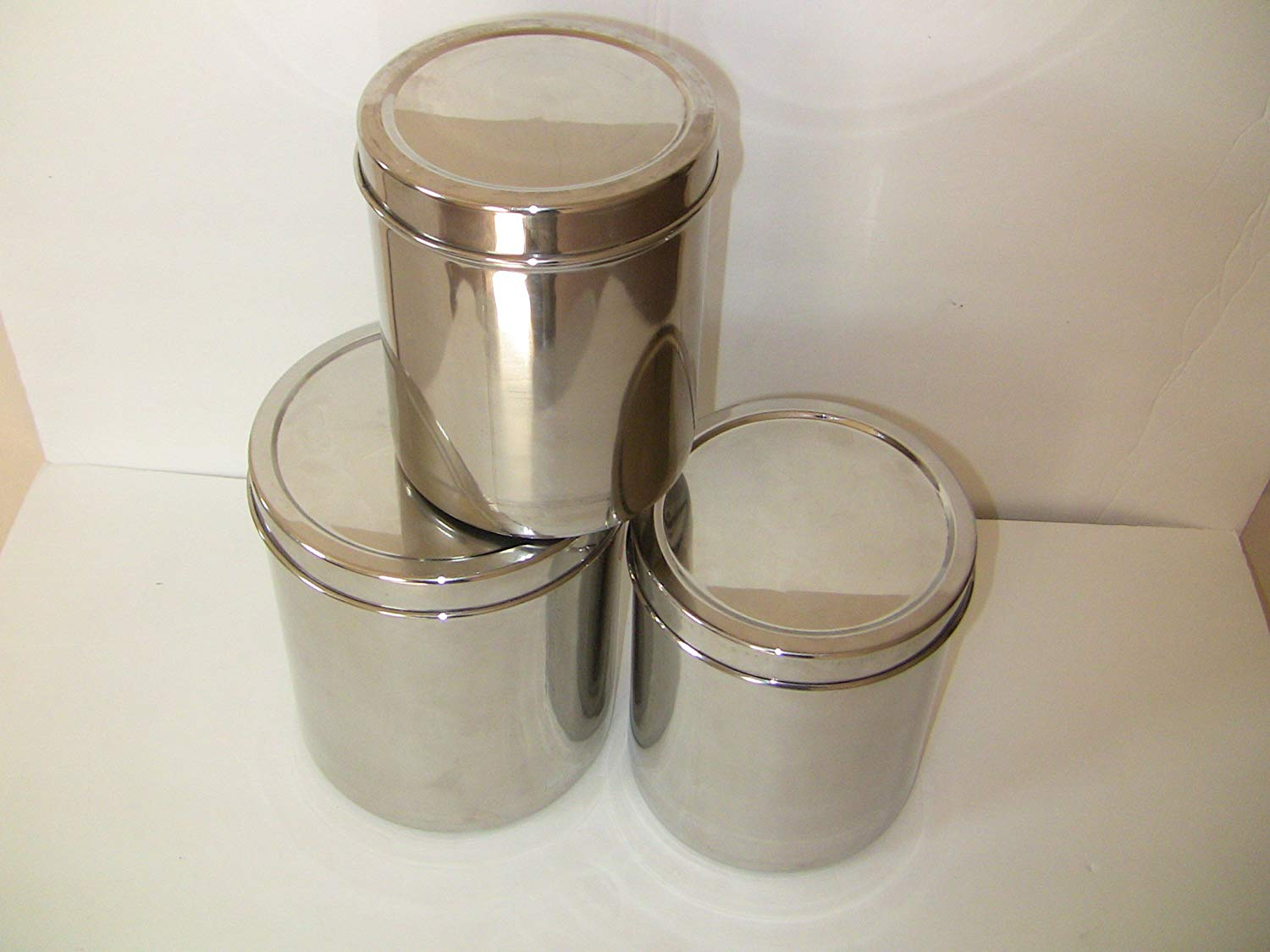 Qualways Jumbo Stainless Steel Kitchen Canister Set of 4 (Set of 4), 6.5  lb, 5 lb. 4 lb and 3 lb canister set