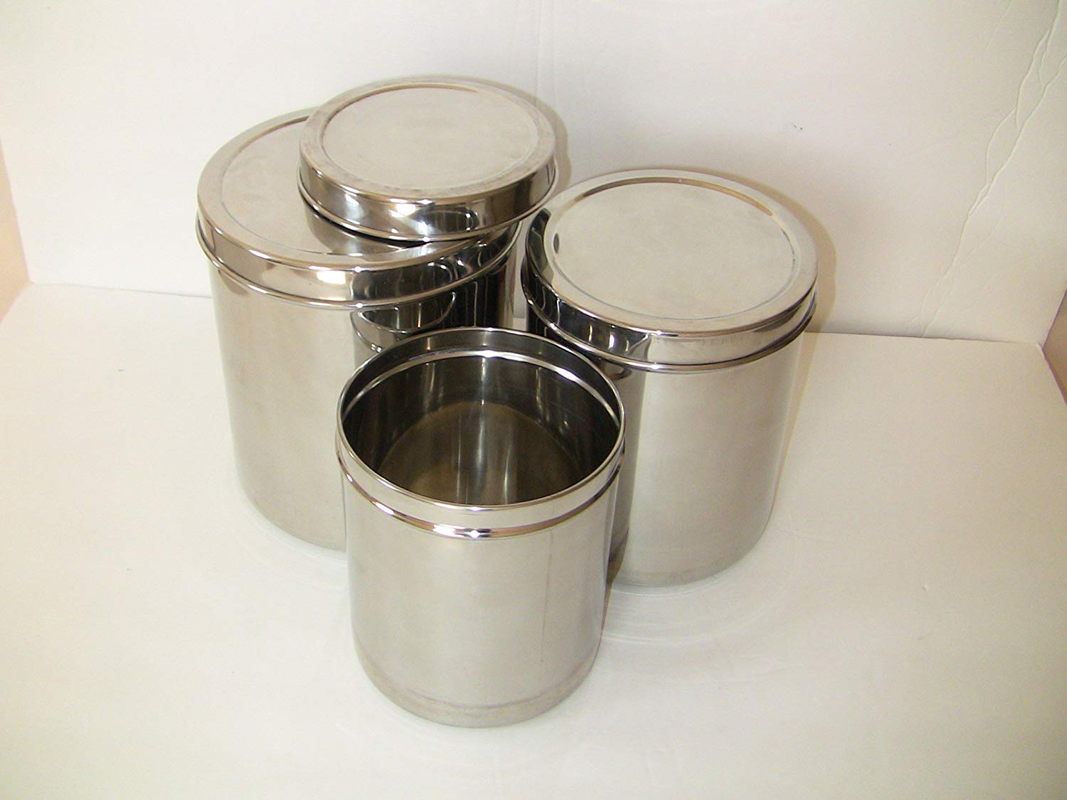 Fantastic Qualways Jumbo Stainless Steel Kitchen Canister Set Of 4 Set Of 4 6 5 Lb 5 Lb 4 Lb And 3 Lb Canister Set Best Image Libraries Thycampuscom