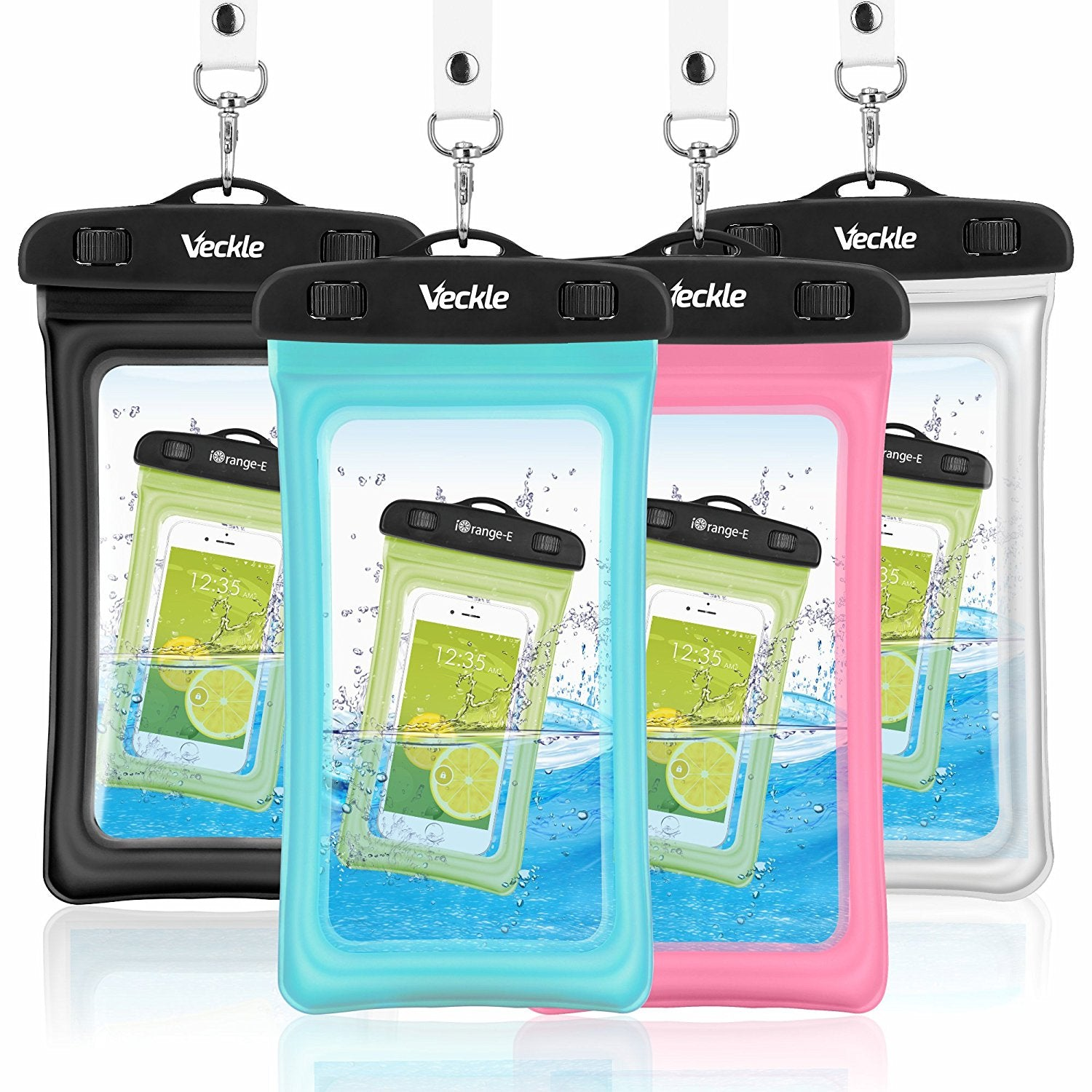 15b6475914 Waterproof Case, 4 Pack Veckle Floating Waterproof Cell Phone Pouch  Universal TPU Clear Water Proof Dry Beach Bag for iPhone X 8 7 6S 6 Plus,  Samsung Galaxy ...