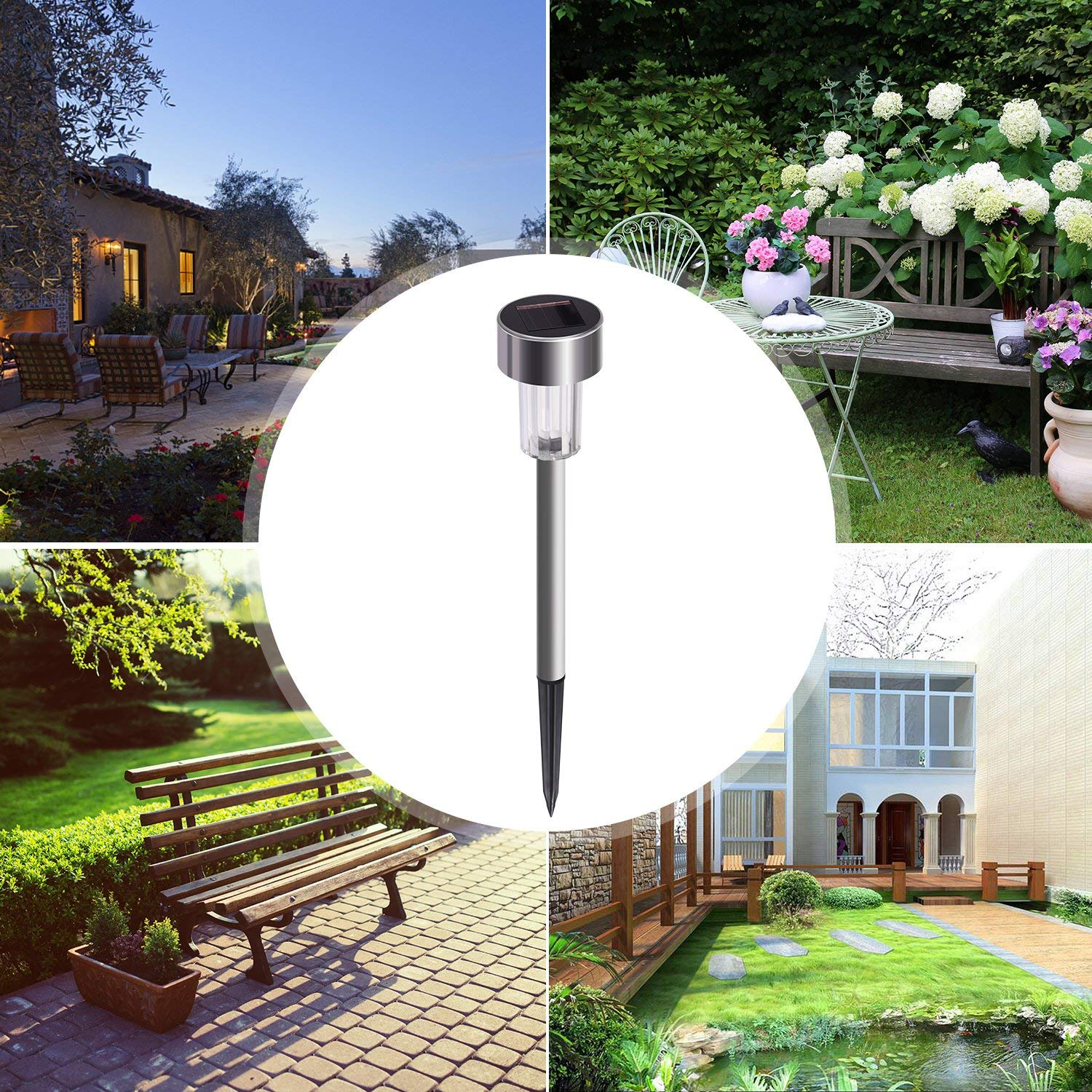 Sunnest Solar Garden Lights Outdoor 12Pack Stainless Steel Solar Pathway  Lights, Outdoor Landscape Lighting For Lawn/Patio/Yard/Walkway/Driveway  SG T9285