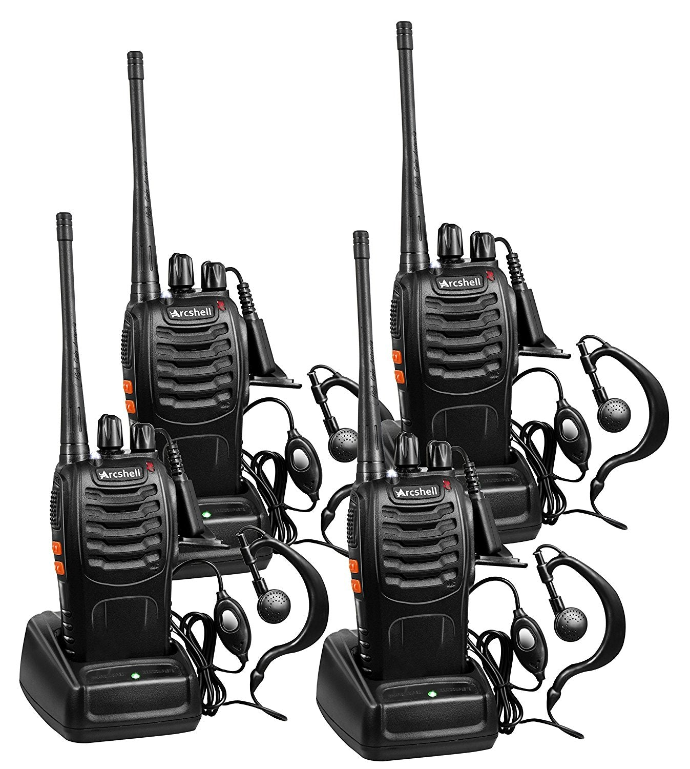 two way radios vazlo Dual Radio Holsters arcshell rechargeable long range two way radios with earpiece 4 pack uhf 400 470mhz walkie talkies li ion battery and charger included