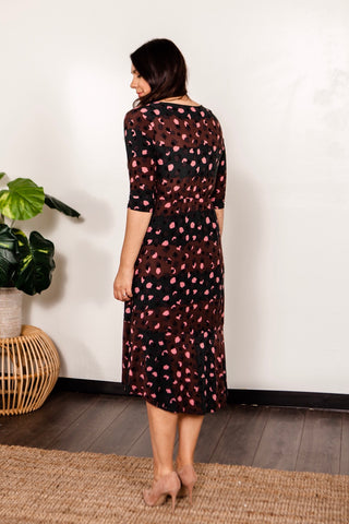 Abstract Animal Midi Wrap Dress