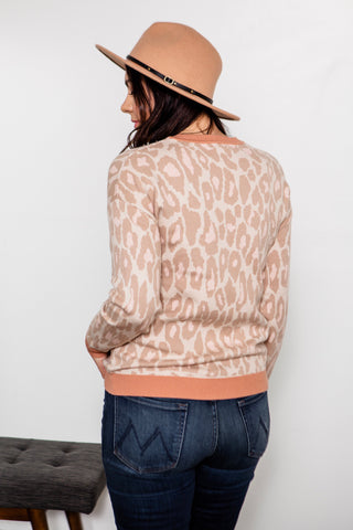Leopard Print Sweater in Pink