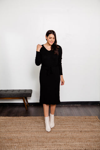 V- Neck Sweater Midi Dress