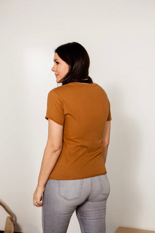Beverly Raw Hem Crew Neck Tee