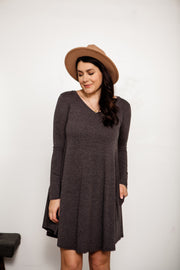 Long Sleeve V-Neck Pocket Swing Dress