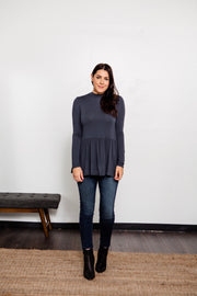 Tiered Hem Mock Neck Top