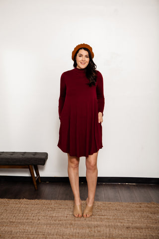 Long Sleeve Mock Neck Swing Dress