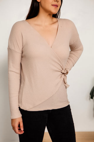 Ribbed Tie Wrap Sweater