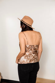 Drape Front Snake Printed Camisole