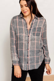 Burnout Plaid Button Down