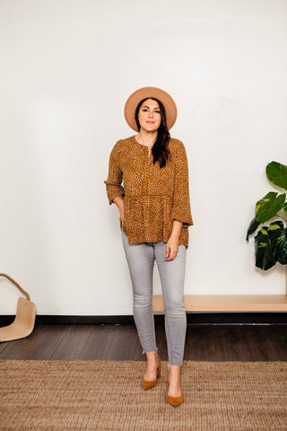 Ditsy Print Button Pullover