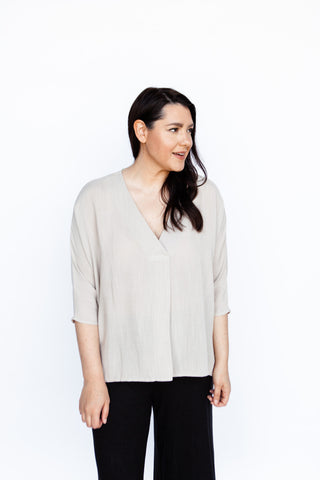 Relaxed Fit V-Neck Blouse