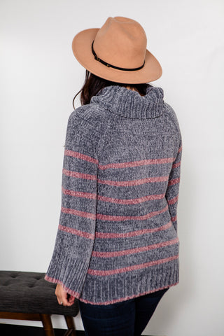 Chenille Stripe Turtleneck Sweater