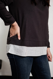 French Terry Pullover with Contrast Bottom