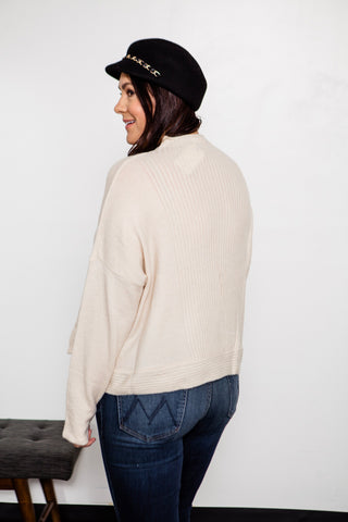 Mock Neck Ribbed Detail Sweater