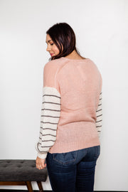 Contrast Striped Sleeve Sweater