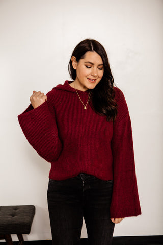 Hooded Sweater with Bell Sleeves