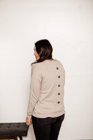 Grey Button Back Sweater