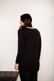Long Sleeve Round Hem V-Neck Tunic