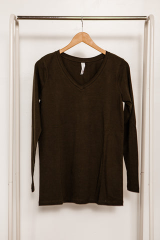 Long Sleeve Cotton V-Neck Tee