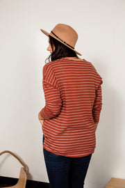 Notched Stripe Knit Top