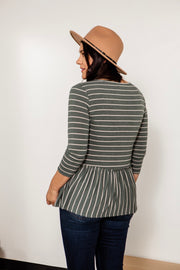 Mixed Stripe Peplum top