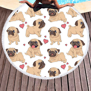 Pug Beach Towel