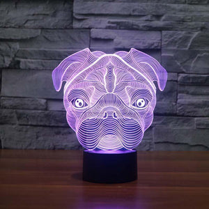 Glowing 3D LED Pug Table Lamp / Night Light