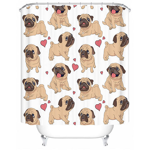 """Pug Love"" Shower Curtain"