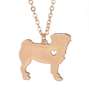 My Heart Belongs to My Pug Necklace (gold or silver)