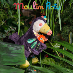 "MOULIN ROTY Small toucan pull along toy ""Dans la jungle"""