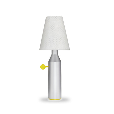 LA CHANCE Table Lamp Vulcain Aluminum Base & White Shade