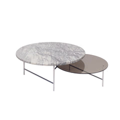 LA CHANCE Coffee Table Zorro Smoke Glass & White Marble